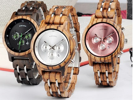 STUNNING AND ELEGANT! Luxury Womens Bamboo Watch with Calendar and Stopwatch in a Choice of Colors