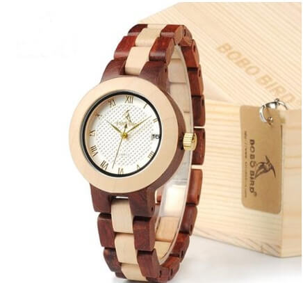 Ladies Rose Sandal Wood Luxury Dress Watch in Gift Box