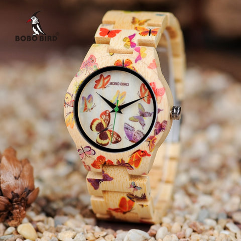 SIMPLY PRETTY! Ladies Bamboo Butterfly Watch in Wooden Gift Box