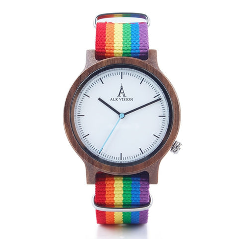 Pride Rainbow Unisex Watch with Canvas LGBT Strap in Maple or Walnut