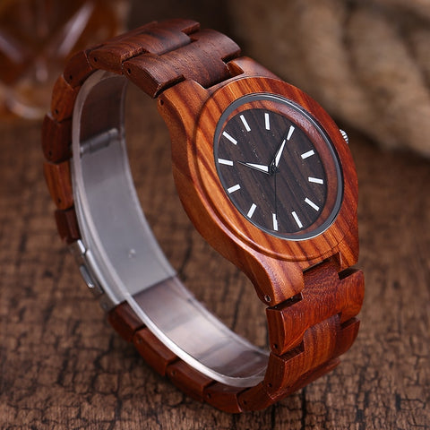 100% Natural Rose Wood Quartz Movement for Men and Women