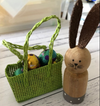Wooden Bunny and Green Basket