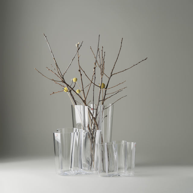 Small and large clear glass Alvar Aalto vases from Iittala