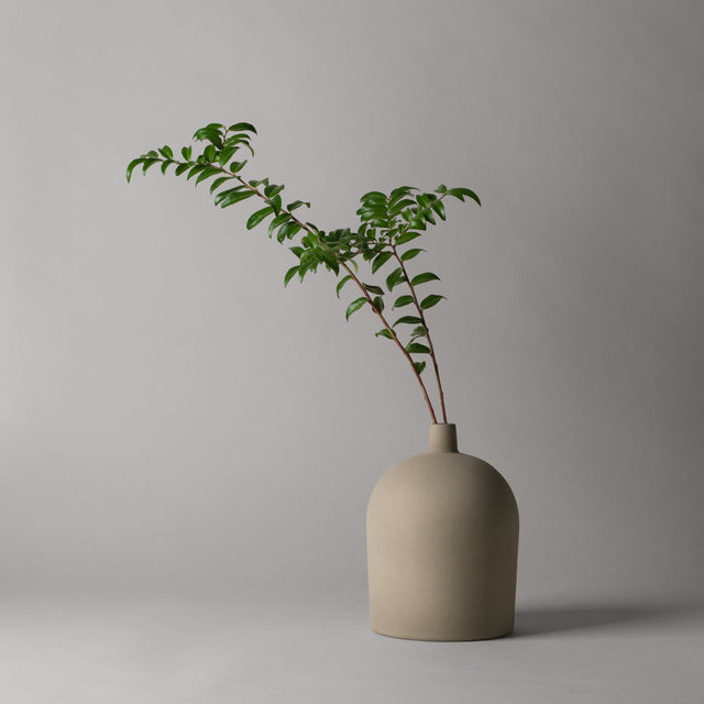 Grey terracotta Dome vase from Kristina Dam Studio