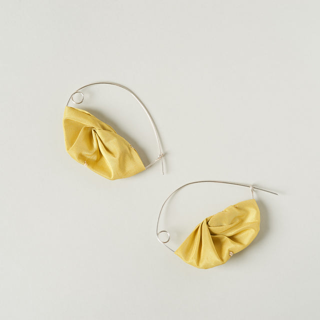 Silk crescent hoops earrings