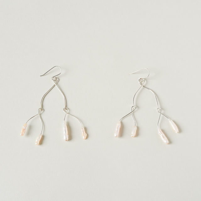 Pearl mobile earrings