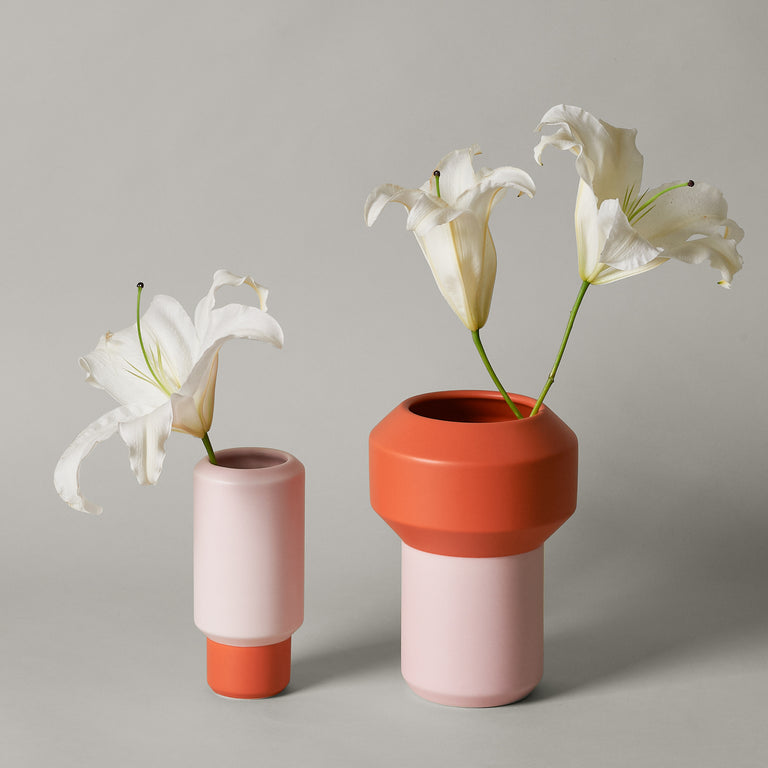 Small and large ceramic orange and pink Fumario vases from Lucie Kaas