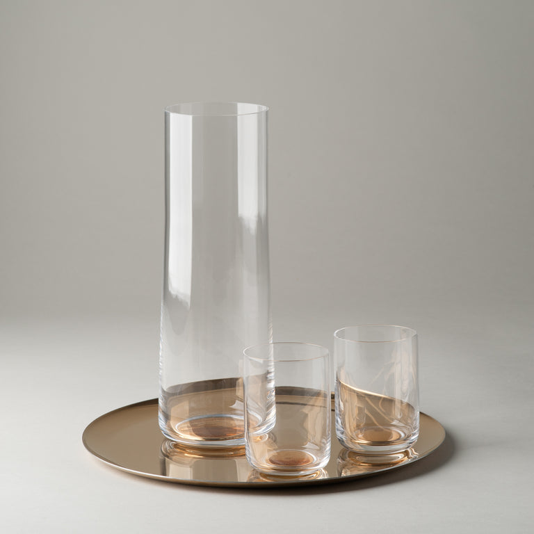 Gold Dot carafe and glasses