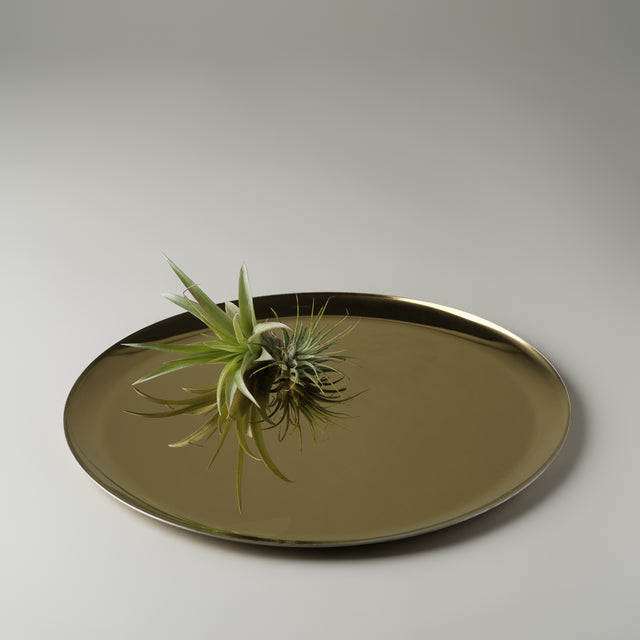 Circular golden serving tray from Hay