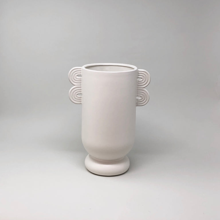 Ferm Living white glazed ceramic Ania vase from the Muses collection