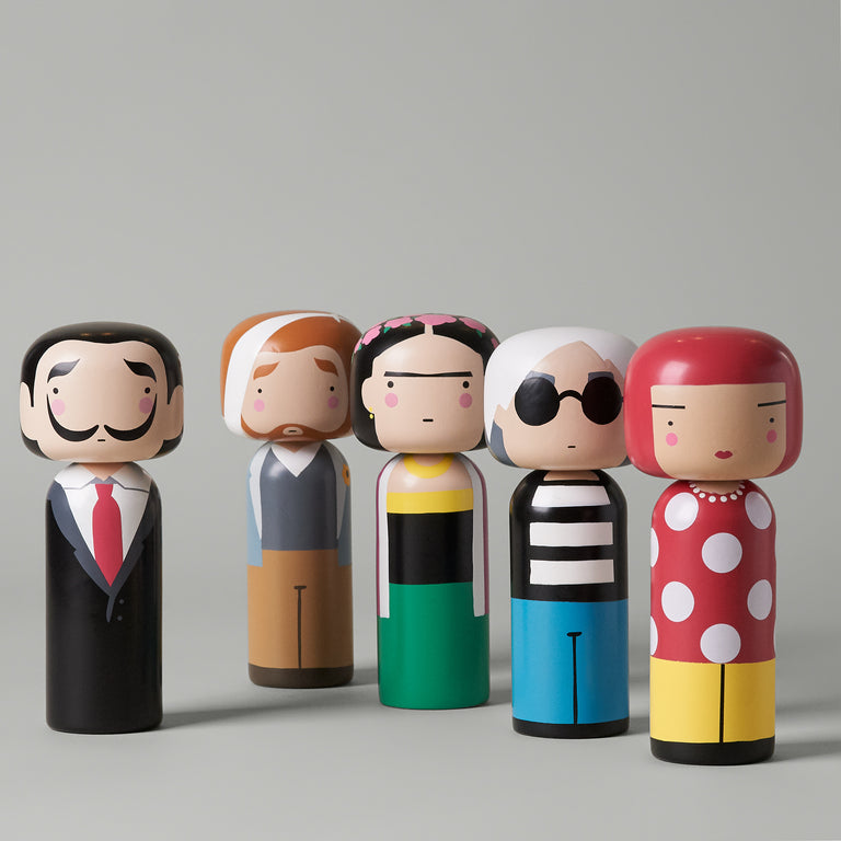 Hand-painted beech wood Kokeshi dolls from Lucie Kass featuring Salvador, Vincent, Frida, Andy and Dot