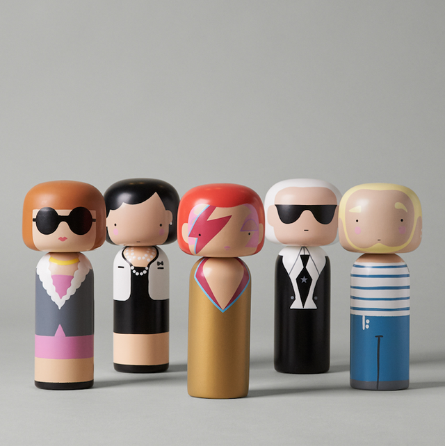 Hand-painted beech wood Kokeshi fashion icons from Lucie Kaas featuring Anna, Coco, Ziggy, Karl and Jean-Paul