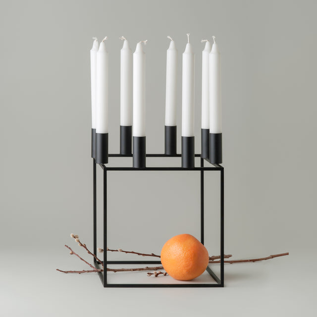 Black lacquered steel Kubus 8 candleholder from By Lassen