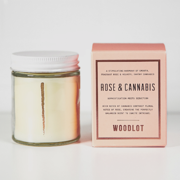 Rose & cannabis candle