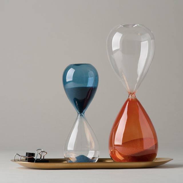 Blue and orange Time hourglasses from Hay.