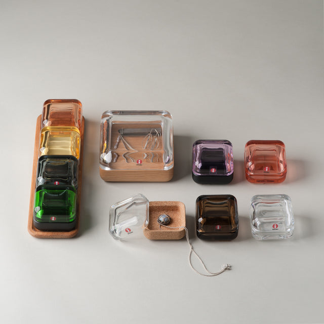 A colorful collection of glass Vitriini boxes from Iittala.