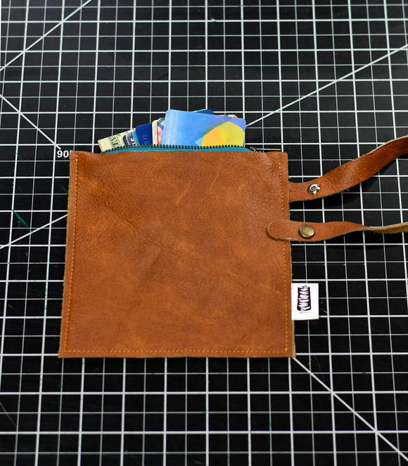 Hazelnut Brown Leather Zipper Pouch