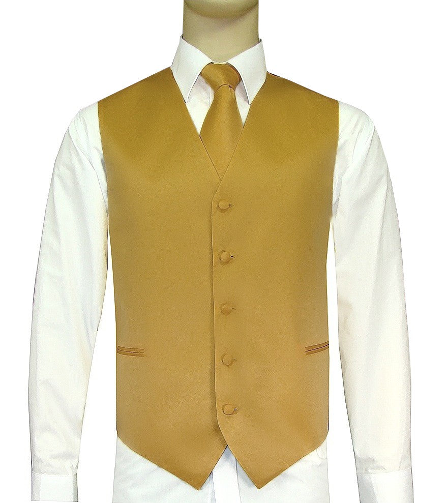 Gold Vest and Tie Set