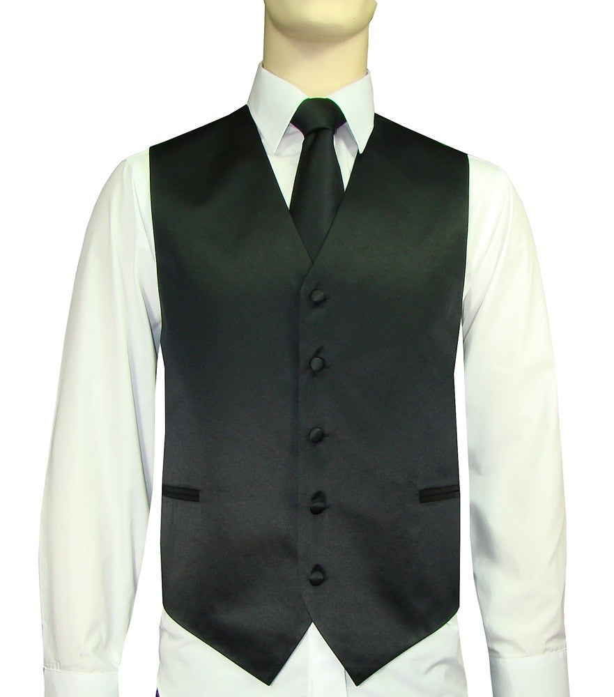 Black Vest and Tie Set