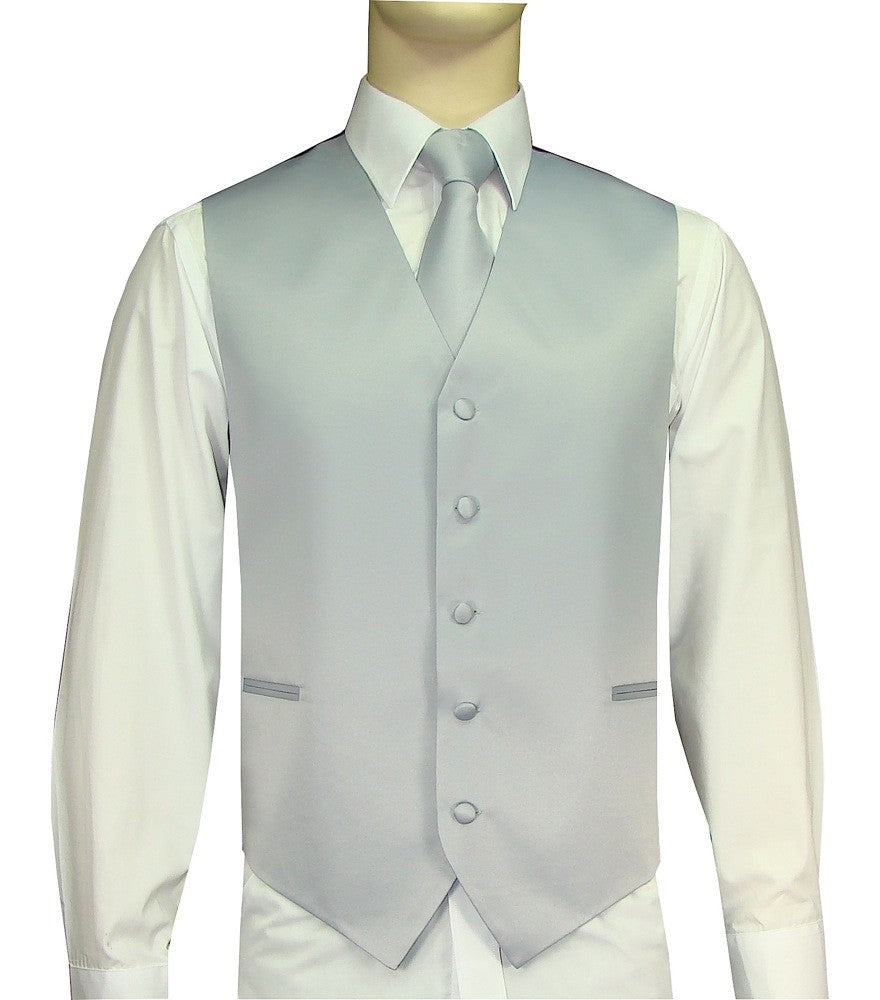 Silver Vest and Tie Set