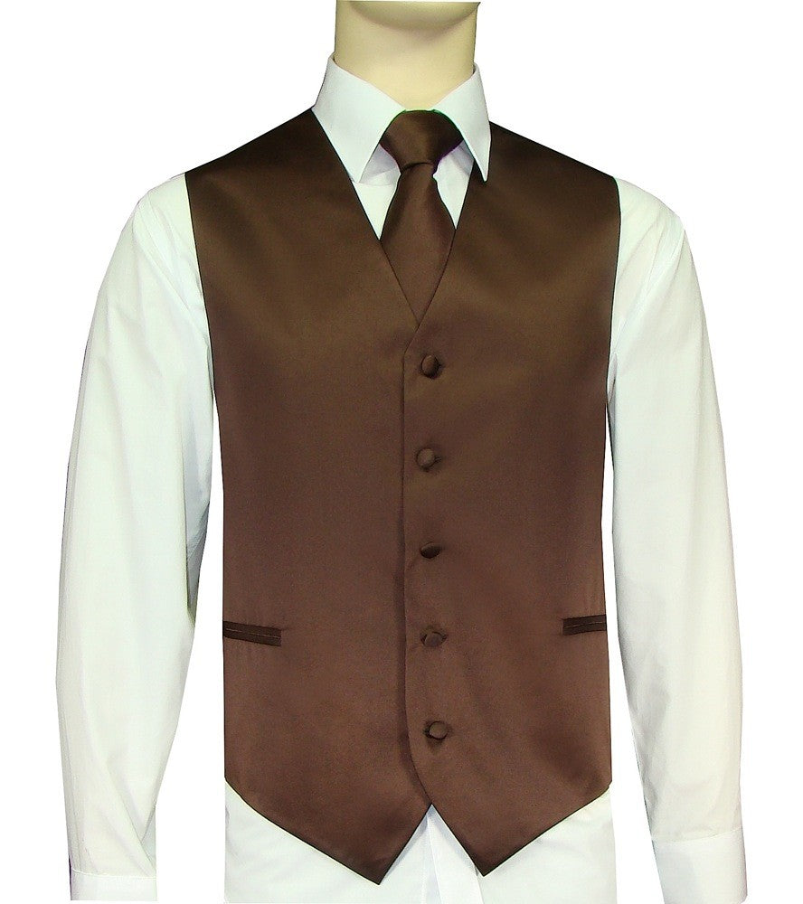 Brown Vest and Tie Set