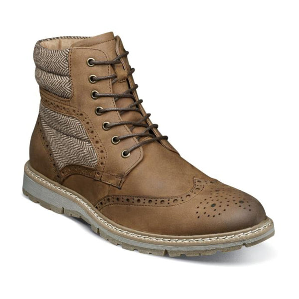 Brown Wingtip Lace Boot