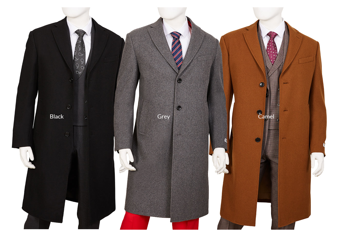 Wool Blend Overcoat - Black - Grey - Camel
