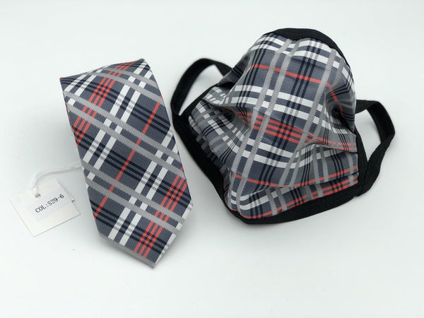 Mask and Tie Plaid Set