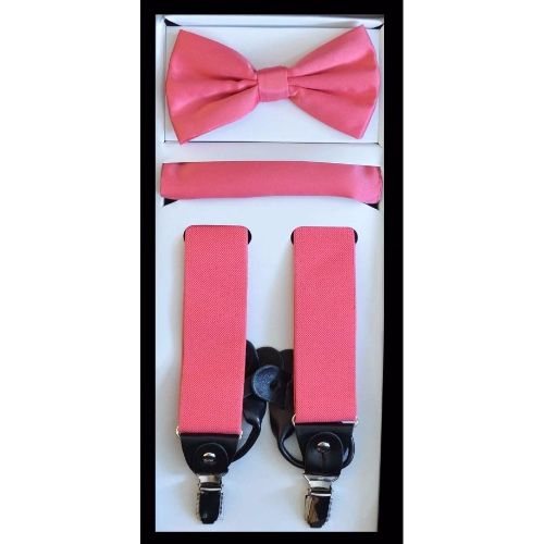 Pink Suspender Bow-tie Set