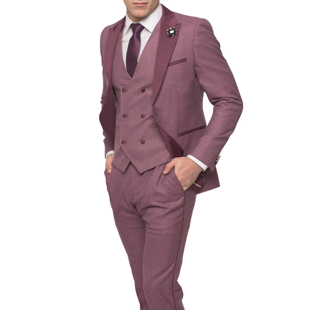 Mauve Tuxedo With Double Breasted Vest