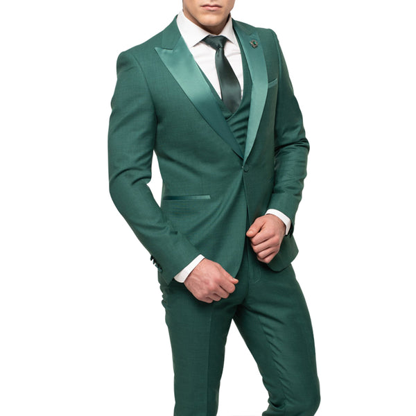 Green Tuxedo With Double Breasted Vest