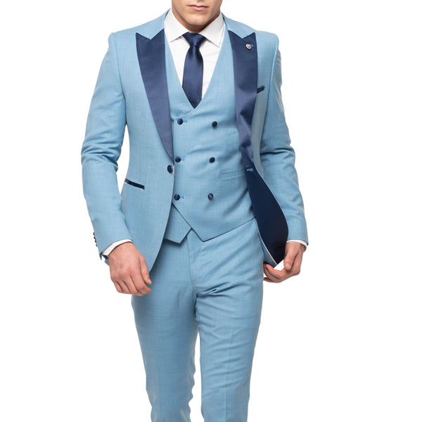 Light Blue Tuxedo With Double Breasted Vest