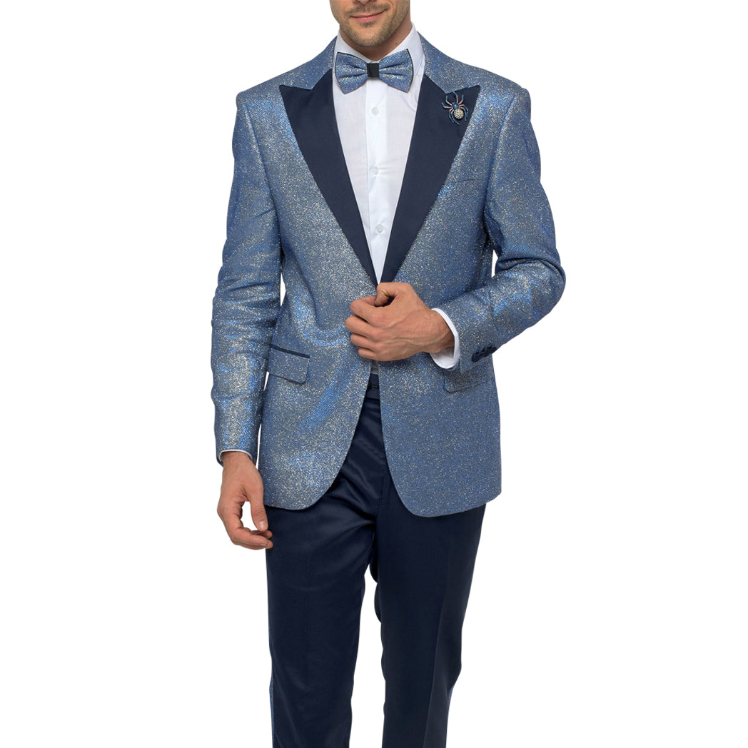 Sparkle Blue Tuxedo with Midnight Blue Lapels and Satin Pants