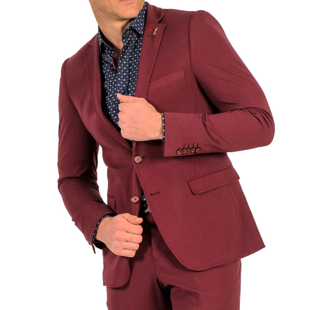 Burgundy Stretch Suit - Travelers Suit