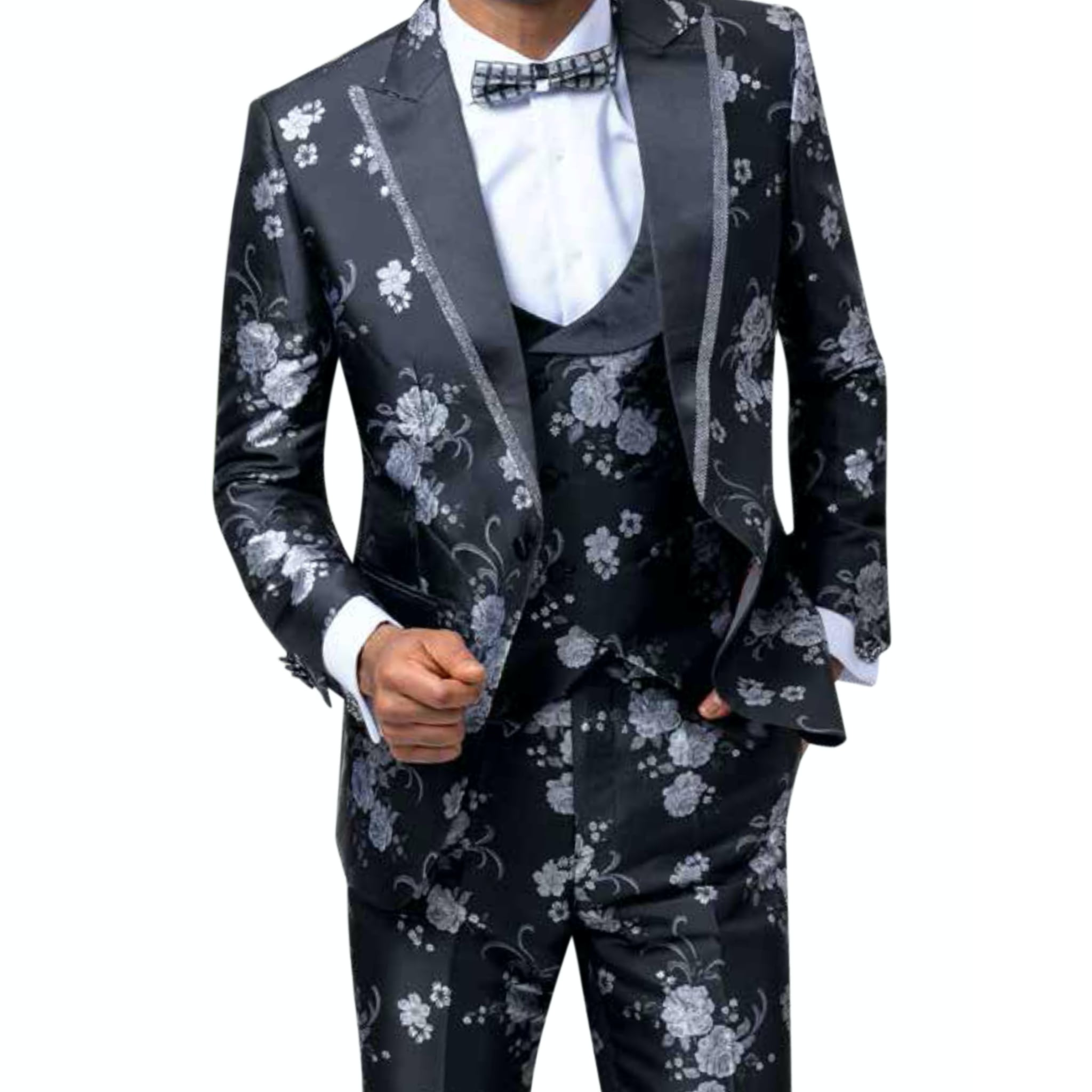 Silver and Black Floral Tuxedo With Vest and Bowtie