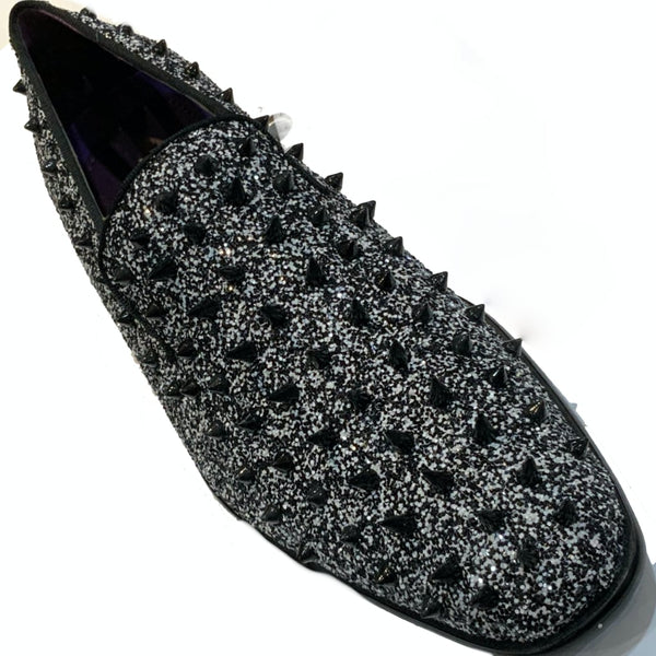 Black and White Spiked Shoes