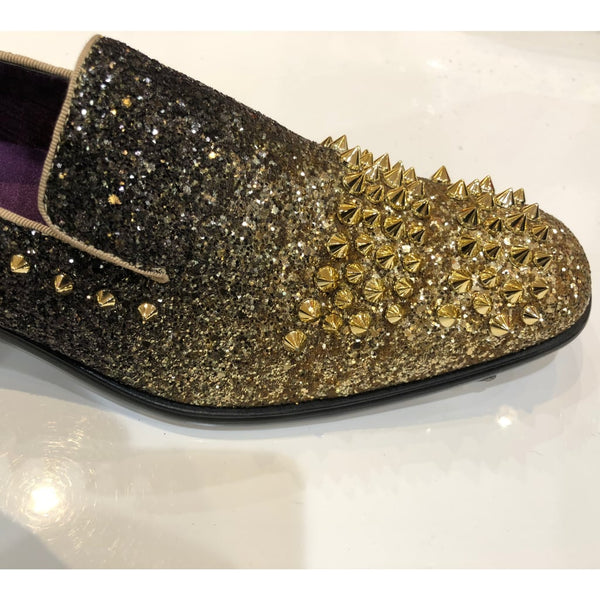 Black and Gold Spiked Shoes