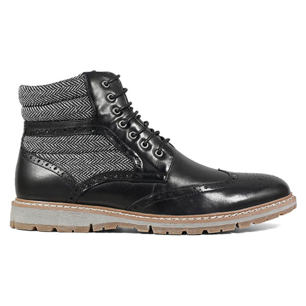 Black Wingtip Lace Boot
