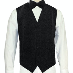 Black Sparkle Vest and Bowtie