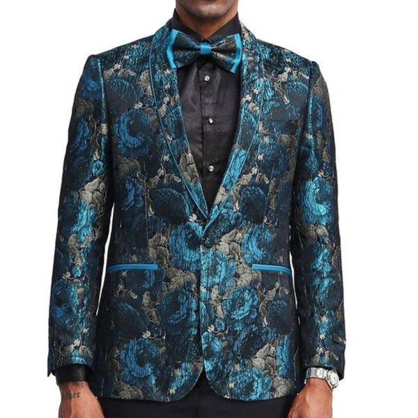 Blue and Silver Floral Blazer