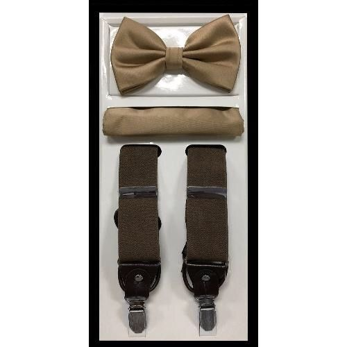 Brown Suspender Bow-tie Set