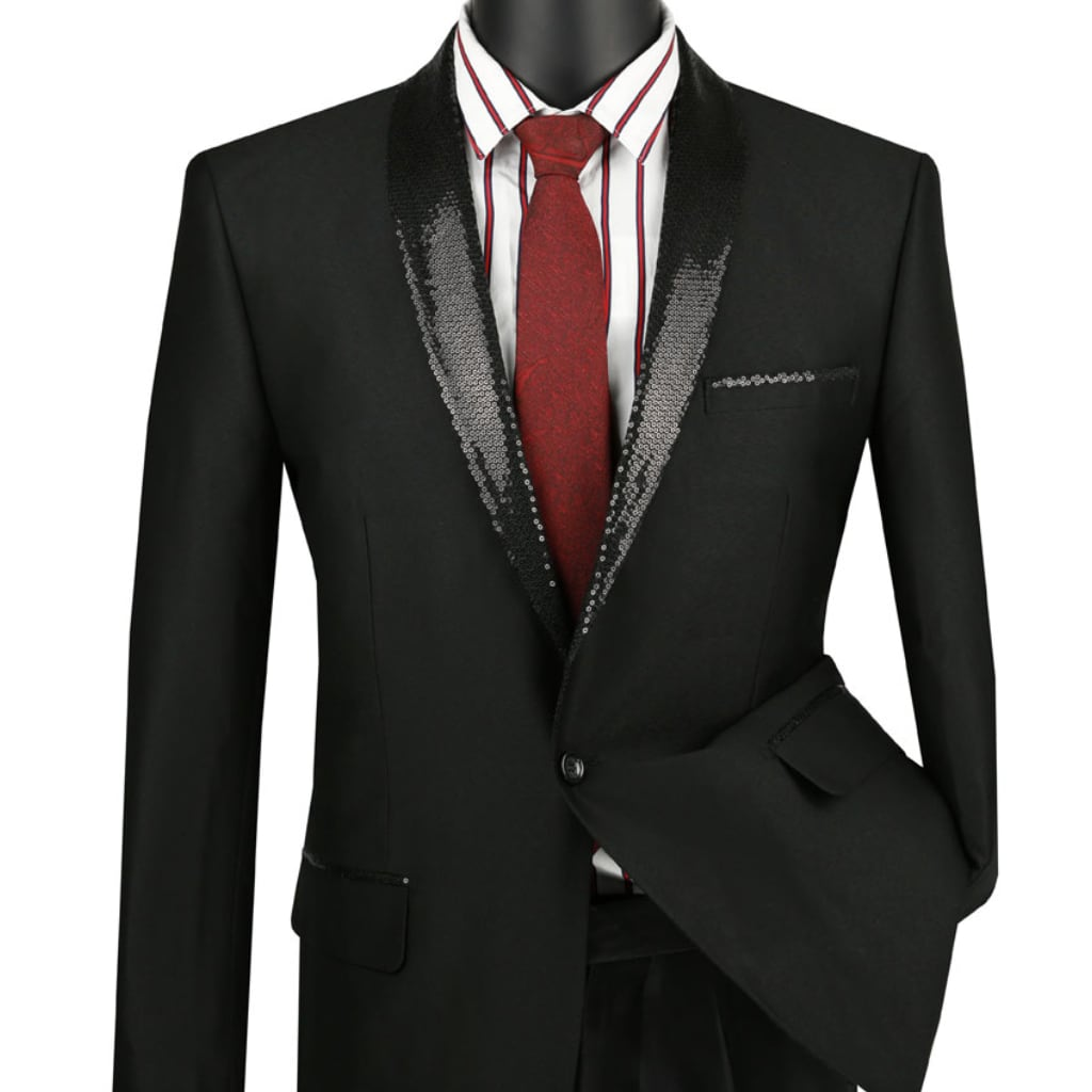 Black with Sequence Black Lapel Tuxedo