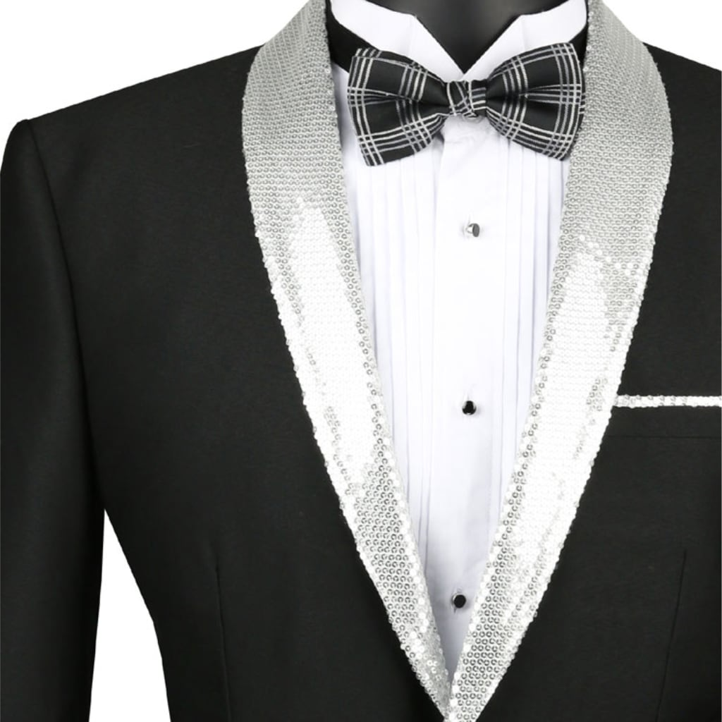 Black with Sequence Silver Lapel Tuxedo