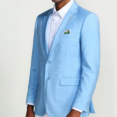 Light Blue Casual Blazer Two Button Notch Lapel