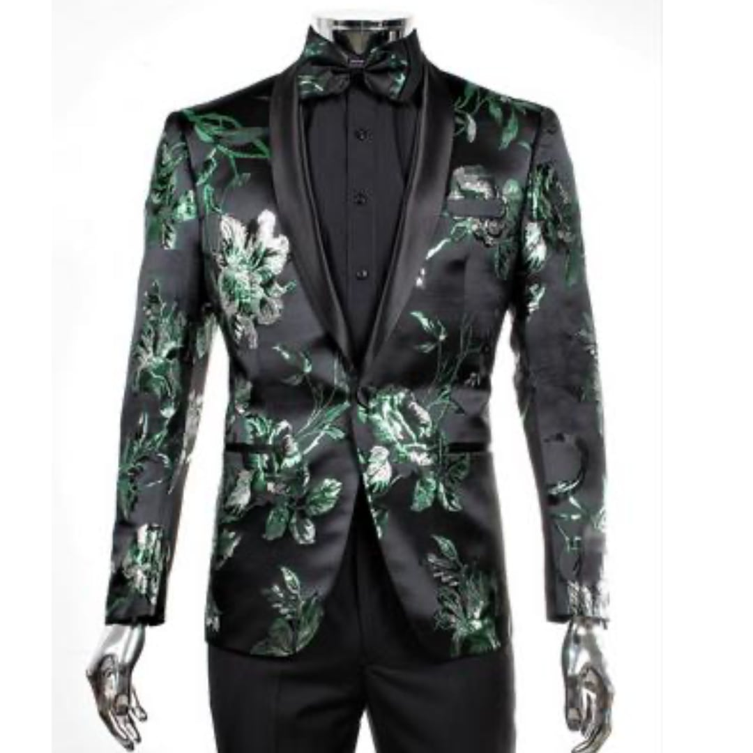 Green and Silver Flower Jacket  + Matching Bowtie