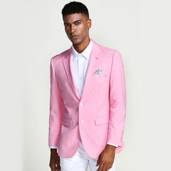 Pink Casual Blazer Two Button Notch Lapel