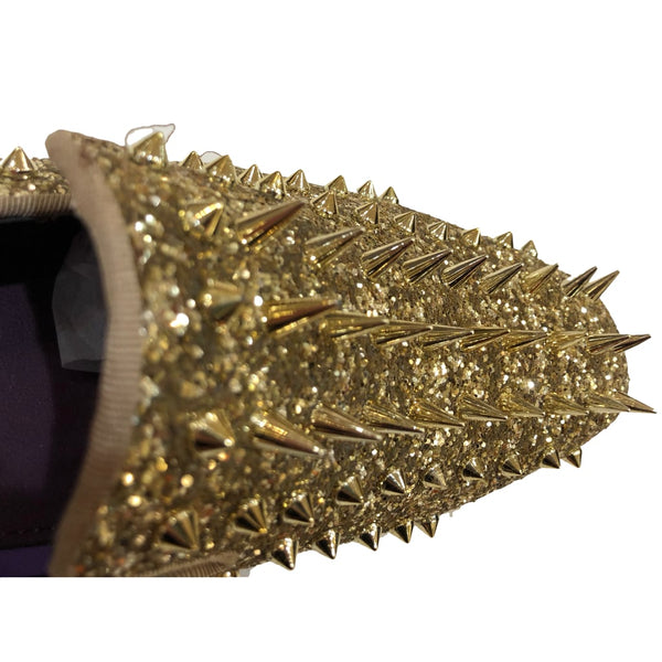 Gold on Gold Spiked Prom Shoes