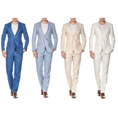 Linen Light Blue Two Piece Suit