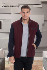 Burgundy-Navy Zip Up