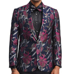 Navy and Pink Floral Blazer
